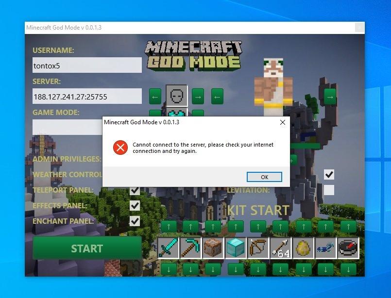 Minecraft God Mode v 0.0.1.3